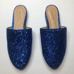 Schutz Blue Glitter Sulenya Metallic Flat Mules